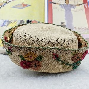 Vintage Woven Straw Floral Pillbox Cap
